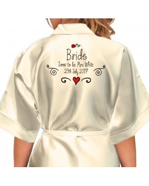 Hand Drawn Rose and Scrolls Design Personalised Ivory Satin Robe. Wedding  Favours For The Whole 6009f8ab3