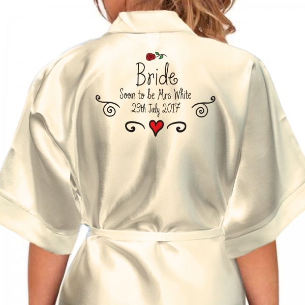 Hand Drawn Rose and Scrolls Design Personalised Ivory Satin Robe. Wedding Favours For The Whole Wedding Party, Bridesmaid. Bride