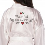Children's, Kids Personalised Satin Robe. Hand Drawn Rose and Scrolls Design.