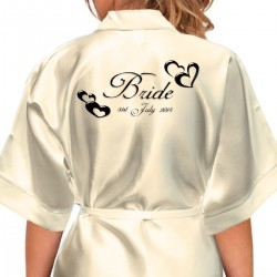 Personalised Satin Robe. Black Embossed Hearts Design, Colour Robes Available For The Whole Wedding Party, Bridesmaid. Bride