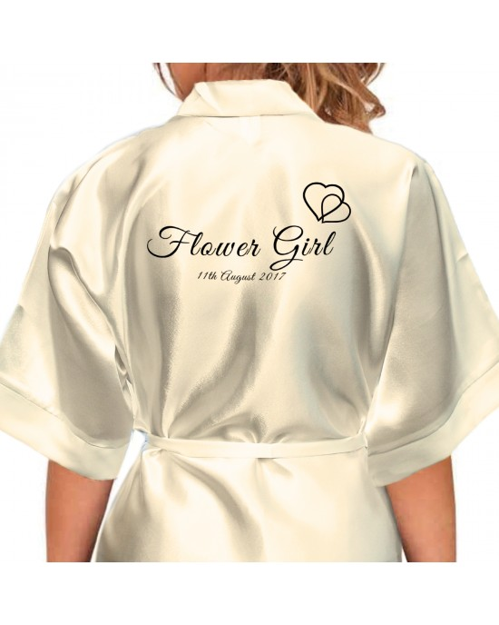 Hearts Black Print Personalised Satin Robe. All Colours Available. Wedding Favours For The Whole Wedding Party, Bridesmaid. Bride