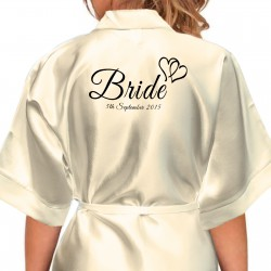Joined Hearts Design Black Print Personalised Satin Robe. Colours Available. Wedding Favours For The Whole Wedding Party, Bridesmaid. Bride
