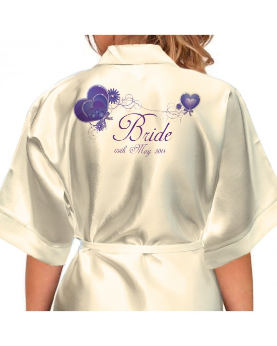 Heart String Love Design Personalised Satin Robe. Very Decorative Love hearts For your wedding