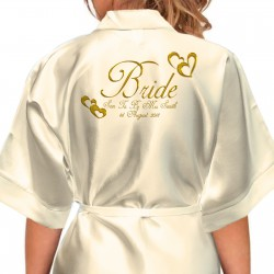 Hearts Design Personalised Ivory Satin Robe. Gold Effect Hearts Sizes For The Whole Wedding Party, Bridesmaid. Bride