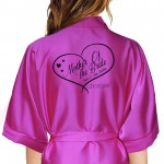 Personalised Satin Robe, Available in colours. Hand drawn heart for bride, bridesmaids
