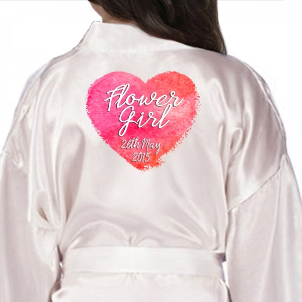Large Water colour Heart Design Personalised Ivory Satin Children's, Kids Robe For Your Little bridesmaids, flower girls Kids Size