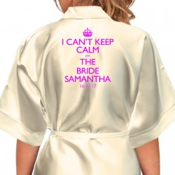 Keep Calm Personalised Satin Robes, bride, bridesmaids, flower girls Adult Size