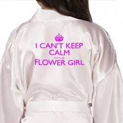 Keep Calm Personalised Satin Robes, Children's, Kids Robe For Your Little bridesmaids, flower girls Kids Size
