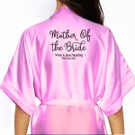 Bride, Flower Girl, Bridesmaid Satin Robe. Simple Script Front Design. Available in Colours
