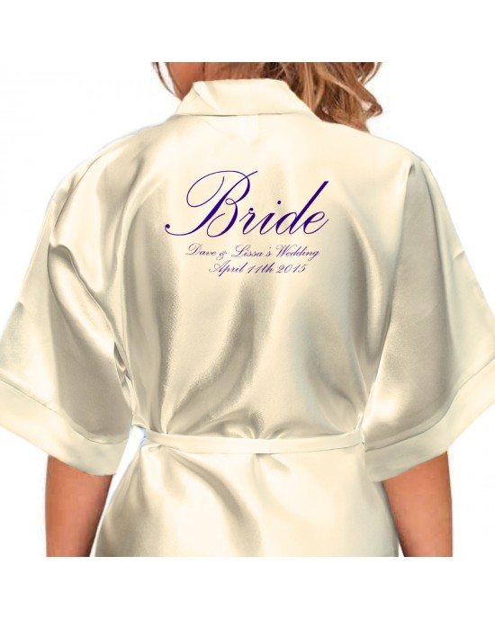 Beautiful Elegant Personalised Ivory Satin Robe. Silver & Gold Effect Text. Wedding Kimonos For The Whole Wedding Party, Bridesmaid. Bride