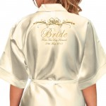 Beautiful Scroll Personalised Ivory Satin Robe. Printed In Colours & Silver & Gold Effect