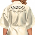 Beautiful Bride & Groom Fancy Scroll Design. Personalised All Colours Satin Robe. Wedding Favours For The Whole Wedding Party, Bridesmaid. Bride