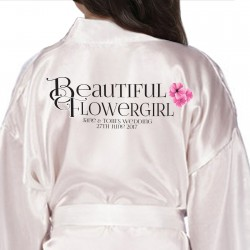 Children's Flower Girl robe. Monogram Initials Design. Bride, Flower Girl, Bridesmaid Satin Robe.