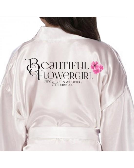 Children's Flower Girl robe. Monogram Initials Design. Bride, Flower Girl, Bridesmaid Satin Robe.