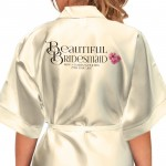 Monogram Initials Design. Bride, Flower Girl, Bridesmaid Satin Robe.