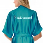 Personalised Turquoise Satin Robe. Personalised Turquoise / Ivory Wedding Satin Kimono Robe Gown + Kids Sizes