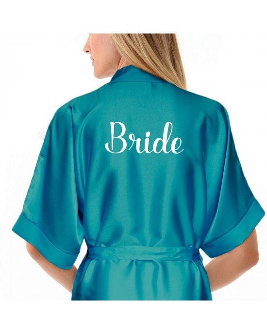 Personalised Turquoise Satin Robe. Personalised Turquoise / Ivory Wedding Satin Kimono Robe Gown + Kids Sizes
