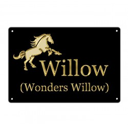 Horse Box Equestrian Name Plate 200mm x 300mm. Print on Metal With Gold or Silver Effect Design.