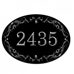 Personalised Oval House, Gate, Door Sign. Fancy Border Around Your Number. Customised Free