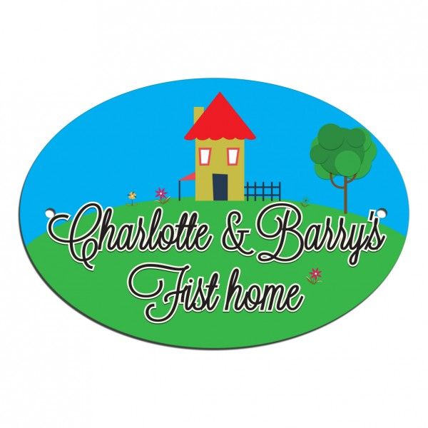 My First Home House Name Plate, House, Gate, Door Sign. Customised With Your Address Free