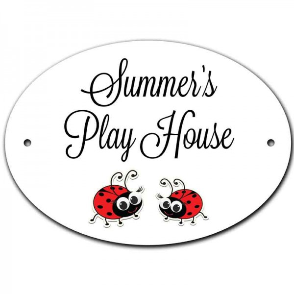 Personalised Oval House Number, Gate, Door Sign. Cute Ladybird Design. Customised Free