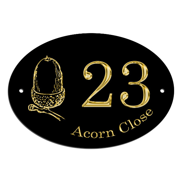 Acorn House Name Plate, House, Gate, Door Sign. Customised With Your Address Free