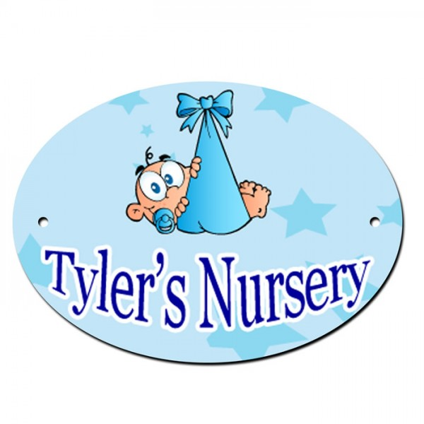 Pink Or Blue Nursery Baby Door Room Sign. With Your child's Name.