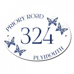 Butterfly House Home Door Gate Number Sign, Plaque. Customised Free