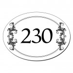 Personalised Oval House Number, Gate, Door Sign. Gold Effect Floral Design. Customised Free