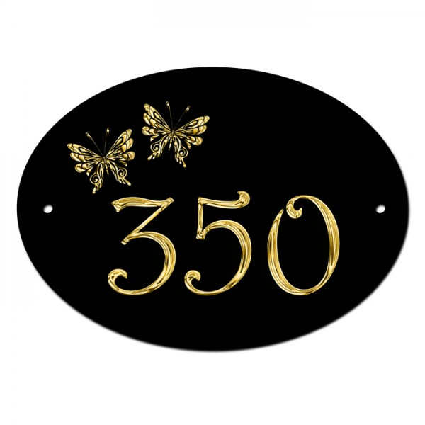 Gold Effect Butterfly's House Home Door Gate Number Sign, Plaque. Customised Free