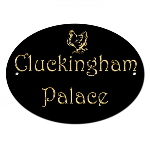 Cluckingham Palace, Chicken House Coup Home Door Gate Number Sign, Plaque.