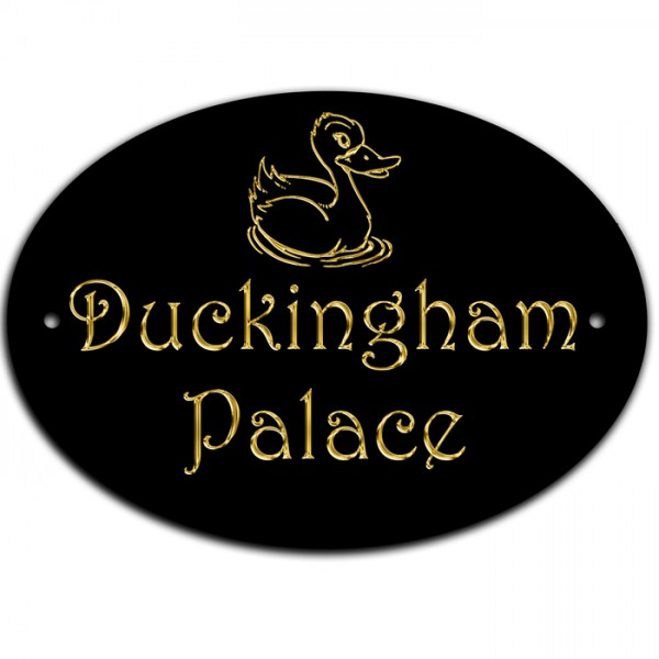 Duckingham Palace, Duck House Coup Home Door Gate Number Sign, Plaque.