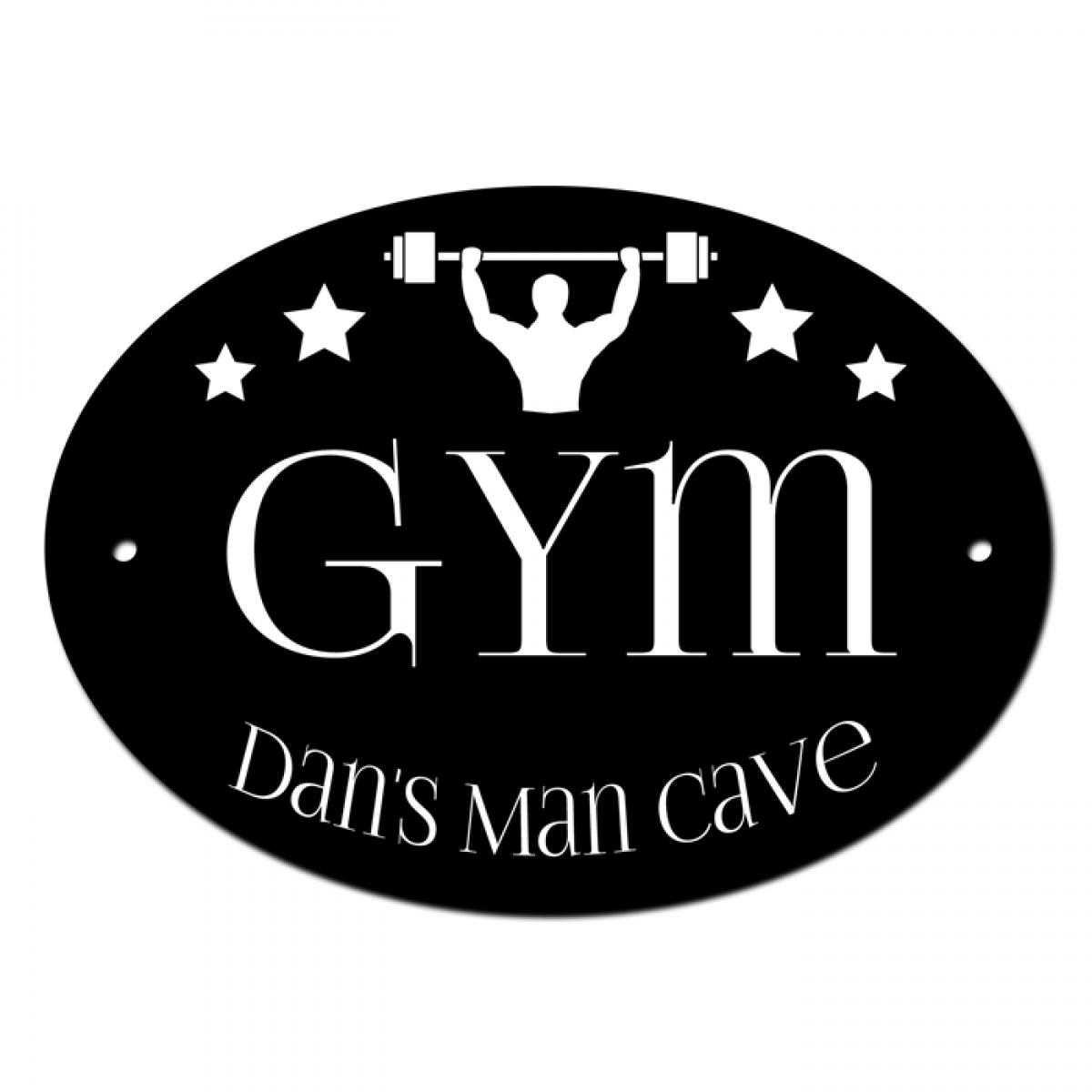 Gym man cave door room sign