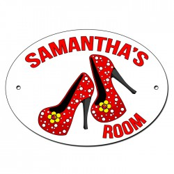 Girls Room, Door, Name, Plaque, Sign. Personalised With Shoes & Your Child's Name