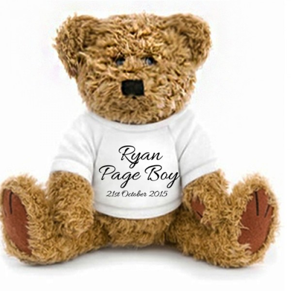 Personalised Wedding favour  Bear, With Your Message 2 Sizes. Bridesmaid, pageboy