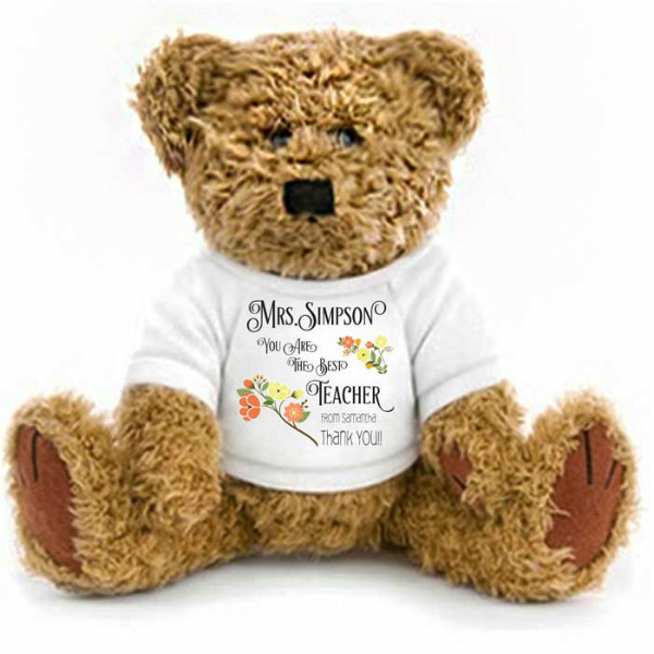 Teacher Thank you Gift Personalised Wrapped  Teddy Bear 2 Sizes Available. Change the text Gifts for ,