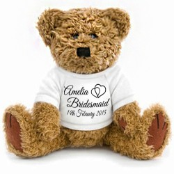 Hearts Gift Wrapped Personalised Wedding Favour Teddy 2 Sizes.