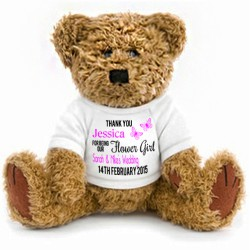 Gift Wrapped Personalised Teddy Bear Wedding Favour Page Boy Bridesmaid Flower girl 2 Sizes.