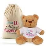 Thank you for being our Bridesmaid, Flower Girl personalised Brown Teddy Bear Gift.