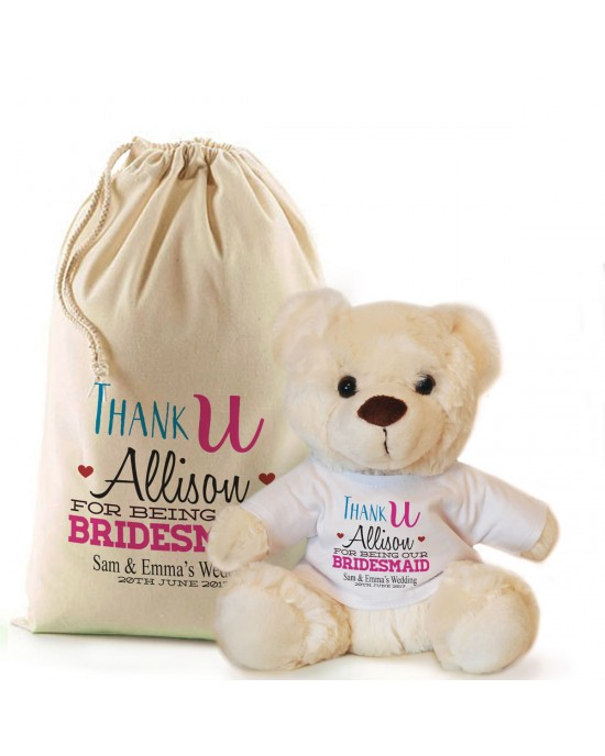 Thank you for being our Bridesmaid, Flower Girl personalised Cream Teddy Bear Gift.