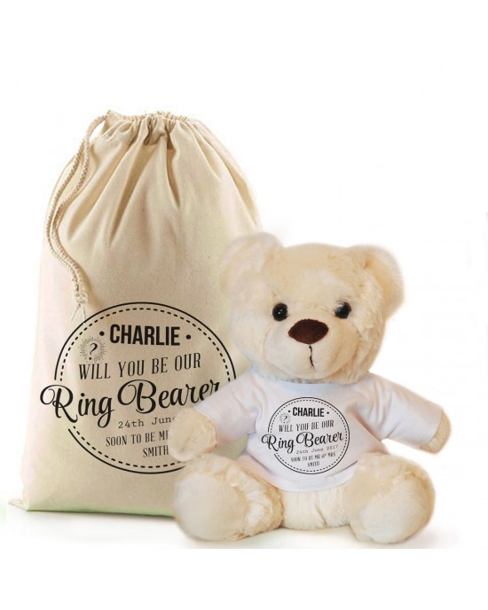 personalised Cream Teddy Bear Gift Will you be our Ring Bearer.