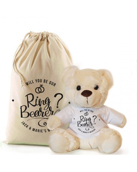 Will you be our Ring Bearer personalised Cream Teddy Bear Gift.