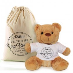Personalised Brown Teddy Bear Gift Will you be our Ring Bearer.