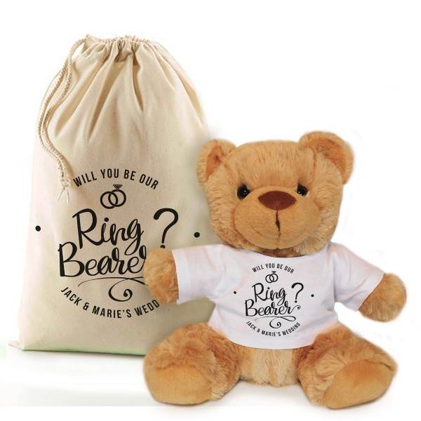 Will you be our Ring Bearer personalised Brown Teddy Bear Gift.
