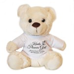 Personalised Wedding Gift Cream Teddy Bear, Black Butterfly Design For Bridesmaids, pageboy's, Flowergirls