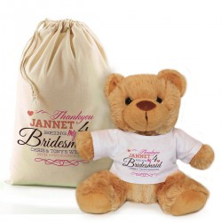 Personalised Wedding Gift Teddy In A Bag. For Bridesmaids, flowergirls