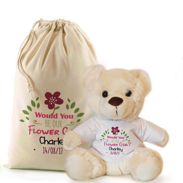 Will You Be Our Flower Girl Personalised Cream Teddy Bear In A Bag.