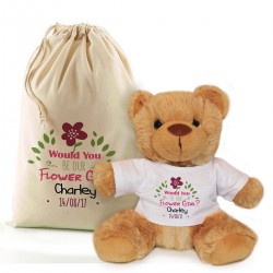 Will You Be Our Flower Girl Personalised Brown Teddy Bear In A Bag.