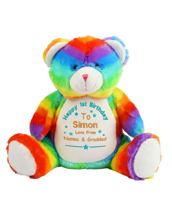 Personalised Embroidered Birthday Gift Large Rainbow Teddy Bear