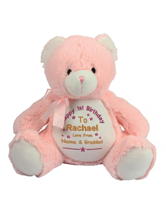 Personalised Birthday gift Embroidered Cute Large 40cm Teddy